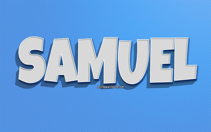 Samuel, blue lines background, wallpapers with names, Samuel name, male names, Samuel greeting card, line art, picture with Samuel name