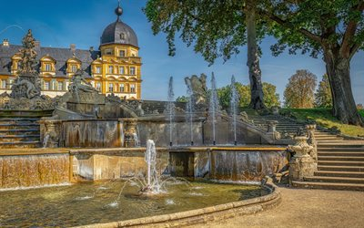 Seehof Palace, Memmelsdorf, Bamberg, Schloss Seehof, fountains, evening, castles of Germany, HDR, Germany