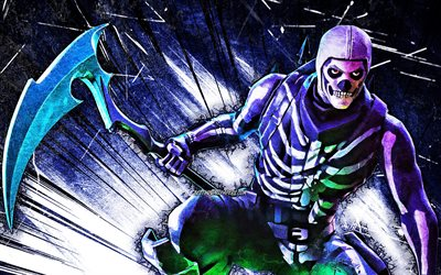 4k, Skull Trooper avec hache, art grunge, jeux 2020, Fortnite Battle Royale, Skull Trooper, personnages Fortnite, Skull Trooper Skin, rayons abstraits bleus, Fortnite, Skull Trooper Fortnite