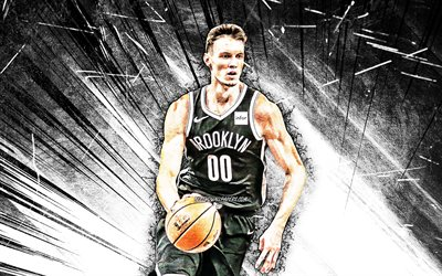 4k, Rodions Kurucs, grunge art, Brooklyn Nets, NBA, basketball, USA, Rodions Kurucs Brooklyn Nets, white abstract rays, Rodions Kurucs 4K