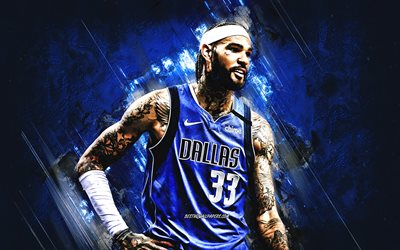 Willie Cauley Stein, Dallas Mavericks, NBA, American basketball player, blue stone background, USA, basketball