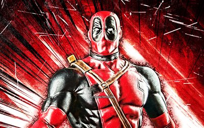 4k, Deadpool, grunge-taide, supersankarit, Marvel Comics, punaiset abstraktit säteet, Deadpool 4K, Cartoon Deadpool