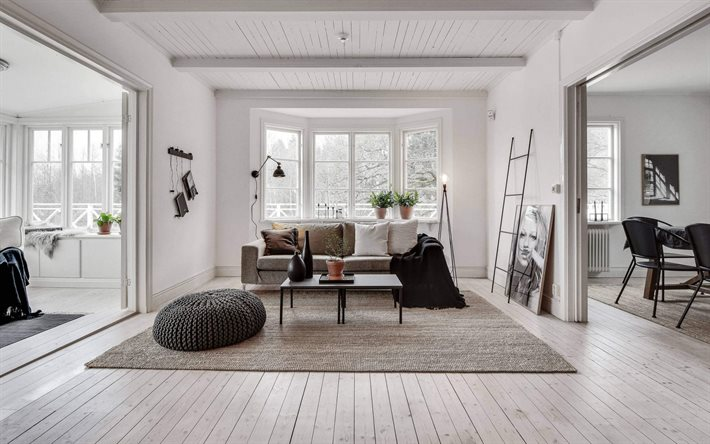 stylish interior design, country house, living room, white walls in the living room, white walls and floor, modern interior, living room scandinavian style