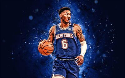 Elfrid Payton, 4k, New York Knicks, NBA, basketball, Elfrid Payton Jr, Elfrid Payton New York Knicks, blue neon lights, Elfrid Payton 4K, NY Knicks
