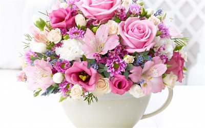 bouquet of flowers, pink roses, roses, alstroemeria, eustoma, bouquet, chrysanthemum