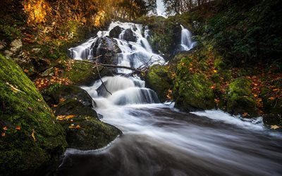waterfall, mountains, autumn, Sweden, forest