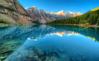 Canada, Moraine Lake, forest, Banff National Park, blue lake, North America, mountains
