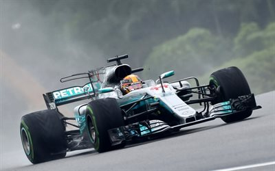 Lewis Hamilton, 4k, Formula 1, car racing, Mercedes AMG Petronas, F1 Team, Mercedes F1 W08, racing track