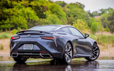 Lexus LC 500, 2018, sports coupe, 4k, Japanese sports cars, gray LC 500, rain, Lexus