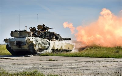 M1A2 Abram, 4k, tanks, shot, fire, battle tank, armored vehicles, US forces