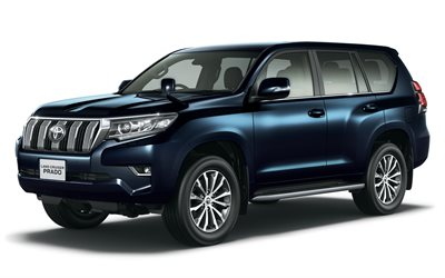 Toyota, Land Cruiser Prado, 2018, 4k, new SUV, blue Prado, Japanese cars