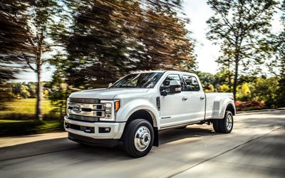 Ford F-450 Limited, 2018, 4k, new cars, white pick-up F-450, limited edition, American cars, Ford