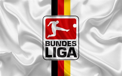 Bundesliga, 4k, logo, emblem, football, Germany, German football championship, Flag of Germany