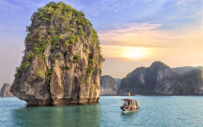 Halong Bay, sea, 4k, cliffs, Indochina, Grotto, Vietnam, Asia