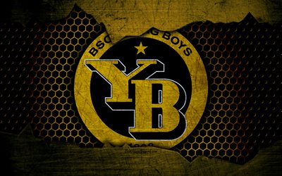 Young Boys, 4k, logo, Swiss Super League, soccer, football club, Switzerland, grunge, BSC Young Boys, metal texture, Young Boys FC