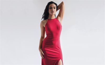 Camila Mendes, Hollywood, american actress, Daman, red dress, beauty, brunette