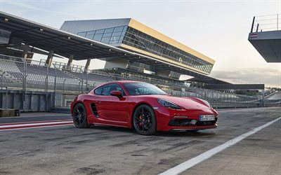 Porsche 718 Cayman GTS, 2018, red sports coupe, red Cayman, German cars, new cars, Porsche
