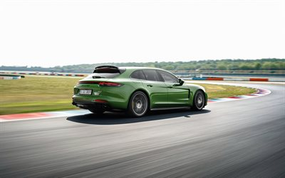 Porsche Panamera GTS, 2019, 453 HP, rear view, exterior, sports coupe, new green Panamera GTS, Porsche