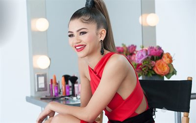 Zendaya, American actress, smile, portrait, red dress, photoshoot, Vogue, Zendaya Maree Stoermer Coleman