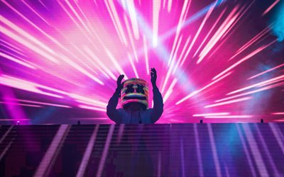 Marshmello, concert, stage, bright lights, electronic music, American DJ, USA, DJ Marshmello, EDM