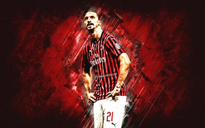 Zlatan Ibrahimovic, AC Milan, Swedish footballer, Milan, portrait, red stone background, Serie A, football