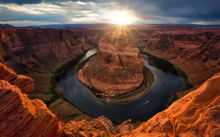 Horseshoe Bend, Arizona, Colorado River, Grand Canyon, rocks, evening, sunset, river, canyon, Page, USA