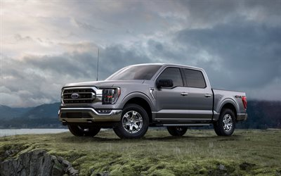 Ford F-150, 2021, front view, exterior, new gray F-150, F-series, American cars, Ford