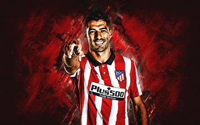 Luis Suarez, Atletico Madrid, Uruguayan footballer, portrait, red stone background, football, La Liga