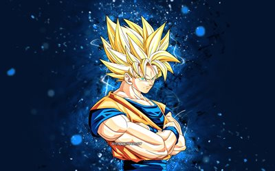 Golden Goku, 4k, blue neon lights, Dragon Ball Super, manga, DBZ, Goku SSJ3, Goku Super Saiyan 3, DBS, Son Goku