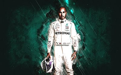 Lewis Hamilton, Mercedes-Benz Grand Prix Limited, Mercedes-AMG Petronas F1 Team, Formula 1, British racing driver, F1, turquoise stone background