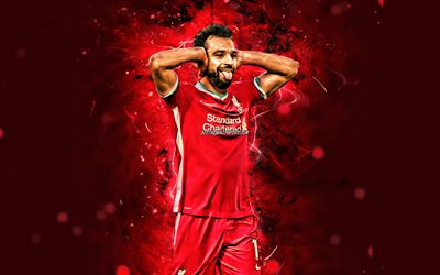 mohamed salah, 4k, 2020, fc liverpool, ägyptische fußballer, fußball, premier league, mohamed salah hamed mahrous ghaly, footaball, rote neonlichter, mohamed salah liverpool, mohamed salah 4k