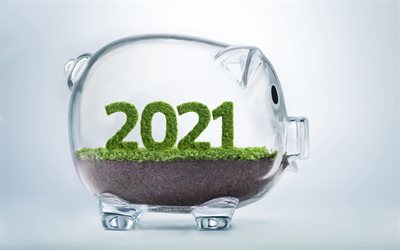 2021 New Year, 4k, piggy bank, Save money, 2021 piggy bank background, deposits concepts, 2021 concepts, business 2021 background