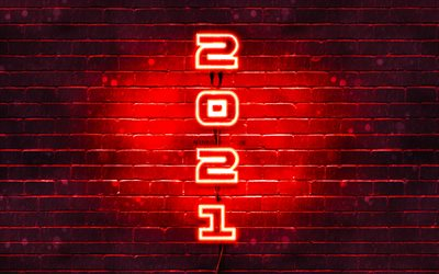 Happy New Year 2021, 4k, red brickwall, red neon digits, 2021 red digits, 2021 concepts, 2021 new year, vertical neon inscription, 2021 on red background, 2021 year digits