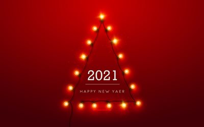 2021 New Year, Christmas tree made of bulbs, 2021 Red background, Happy New Year 2021, 2021 concepts, lamps