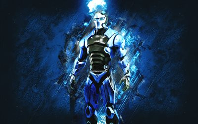 Fortnite Carbide Skin, Fortnite, main characters, blue stone background, Carbide, Fortnite skins, Carbide Skin, Carbide Fortnite, Fortnite characters