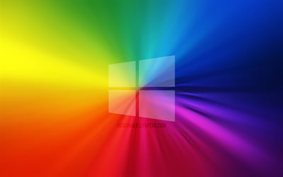 Windows 10 logo, vortex, rainbow backgrounds, creative, operating systems, Microsoft Windows 10, artwork, Windows 10