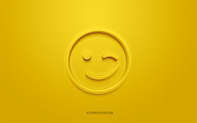 Wink 3d icon, yellow background, 3d symbols, Wink Emotion, creative 3d art, 3d icons, Wink sign, Emotion 3d icons, Good mood icons