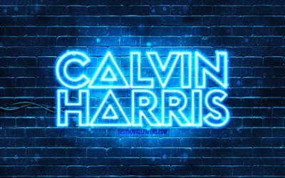 Calvin Harris blue logo, 4k, superstars, scottish DJs, blue brickwall, Calvin Harris logo, Adam Richard Wiles, Calvin Harris, music stars, Calvin Harris neon logo