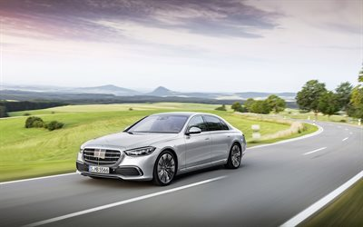 Mercedes-Benz S-Class, 2021, 4k, W223, front view, exterior, new silver W223, luxury cars, new silver S-Class, german cars, Mercedes