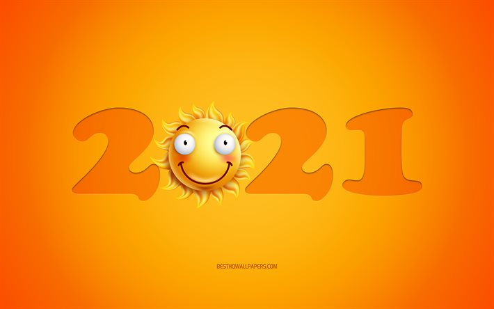 Happy New Year 2021, 2021 3d sun background, 2021 nocepts, 2021 yellow background, 2021 New Year, smile emotion, 2021 art