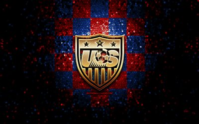 US Mens National Soccer Team, glitter logo, CONCACAF, North America, red blue checkered background, mosaic art, soccer, American National Soccer Team, USMNT logo, football, US soccer team, USA