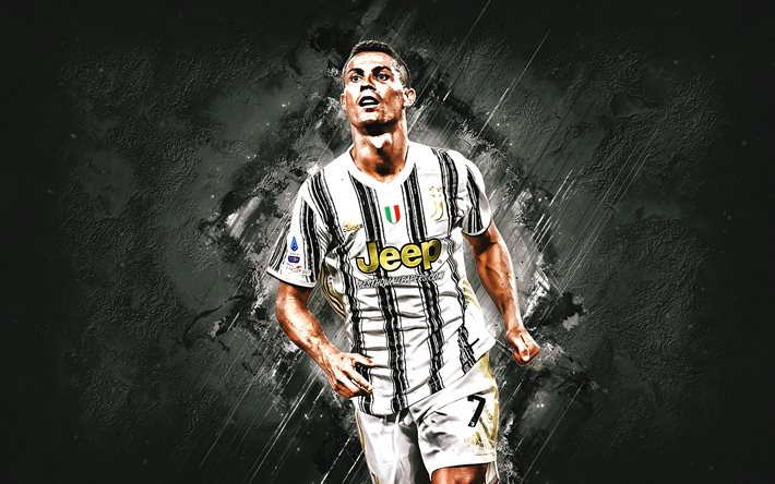 Cristiano Ronaldo, Juventus FC, world football star, Portuguese soccer player, portrait, Juventus 2021 uniform, football, gray stone background