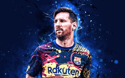 Lionel Messi, 2020, blue neon lights, 4k, Barcelona FC, La Liga, new uniform, argentinian footballers, FCB, football stars, Messi, Leo Messi, Barca, soccer, LaLiga, Spain
