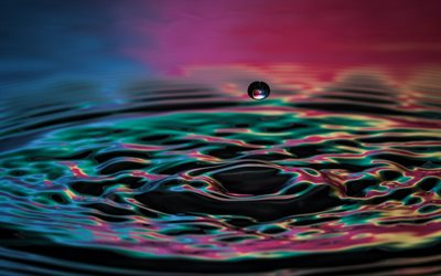 water drop, 4k, close-up, afloat, water
