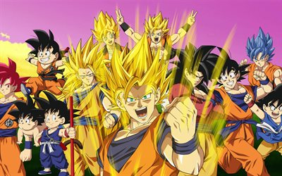 4k, Son Goku, all characters, DBZ, Dragon Ball Super, art, Goku