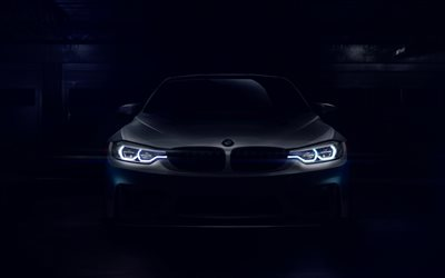 4k, BMW M4 GT4, headlights, 2018 cars, darkness, new M4, F82, BMW