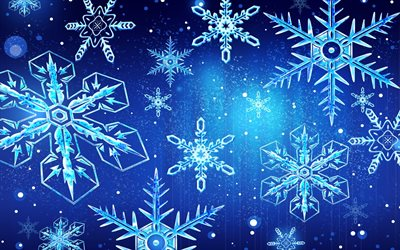 snowflakes, 3d art, christmas, winter, xmas, New Year