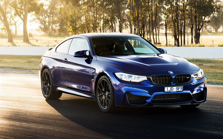 Download Wallpapers Bmw M4 Cs 2018 Blue Sports Coupe F82