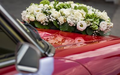 wedding, white roses, wedding car, car decorations, wedding bouquet