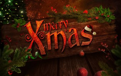 Merry christmas, art, Happy New Year, wooden background, christmas, xmas, merry xmas